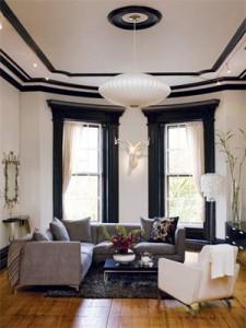 Wnętrze z użyciem listwy sufitowej - sztukateria wewnętrzna